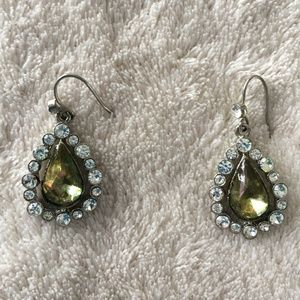 Vintage Silver and Green Teardrop Earrings